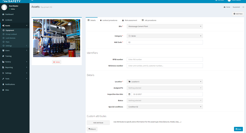 equipment module-omnisense health and safety software